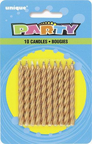 Unique Party - 1943 - Paquet de 10 Bougies d'Anniversaire - Or - Spirale 0011179019434