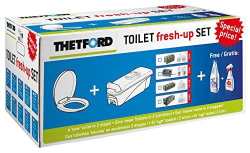 Tank Griff (THETFORD Fresh up Set C-400 mit Räder+Griff inkl. Brille/Deckel, Tank Cleaner(1l. für Fäkalientank)+Badreiniger(500ml.) Wohnwagen Camping mobile Toiletten Outdoor Caravan)