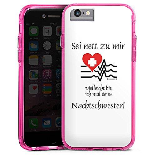 Apple iPhone 7 Bumper Hülle Bumper Case Glitzer Hülle Nachtschwester Nurse Krankenschwester Bumper Case transparent pink
