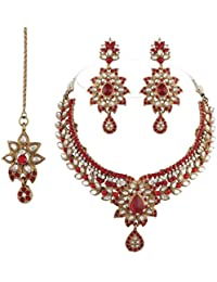 I Jewels Traditional Gold Plated Kundan Necklace Set With Maang Tikka For Women(Red)(K7054R)