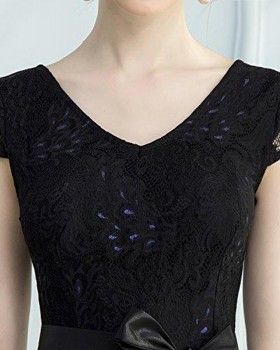Bridesmay Elegant Damenkleid Spitzenkleid Cap Sleeves Brautjungfernkleid Ballkleid Abendkleid Black