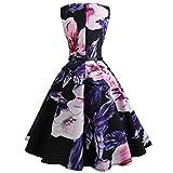 MRULIC Prinzessin Abendkleid Vintage Kleid Cocktailkleider mit Verschiedenen Stile(D-Lila,EU-40-42/CN-XL)