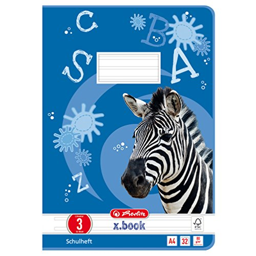 Kariert, 3 Stück (Herlitz 10767283 Heft A4 Lineatur 03, 32 Blatt: Motiv: Zebra, FSC Mix, 5 Stück)
