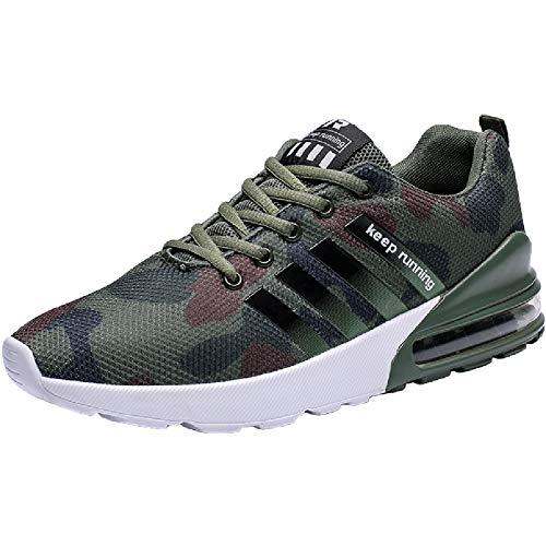 Wealsex Zapatos para Correr En Montaña Asfalto Aire Libre Deportes Zapatillas De Running para Hombre (41 EU, Camuflaje Verde)