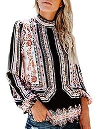 Damen Tops Bluse SUNNSEAN Frauen Langarm Stilvolle Stehkragen Chiffon  Tuniken Blume Drucken T-Shirt Lässige Elegante Hemdbluse… 7ec5a6a75e