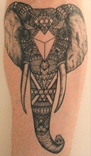 Große Stammes Elefant Temporäre Tätowierung Mit Arm Tattoo Groß Stamm