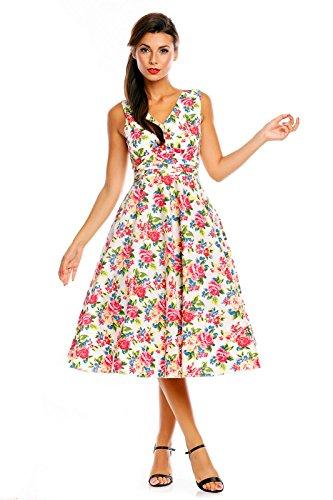 Femmes Années 1950 Retro Vintage Inspiré Floral Rose Pin Up Swing Robe Soirée Blanc