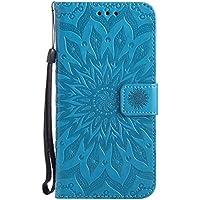 Uposao Handyhülle für Samsung Galaxy J7 2016 Leder Tasche Schutzhülle Handytasche Mandala Blumen Prägung Muster Ledertasche Lederhülle Bookstyle Klapphülle Flip Cover mit Kartenfach,Blau