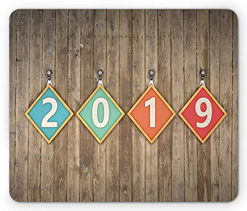 Mouse Pad, Square Frames with Numerals Hanging on Old Wooden Wall Christmas Concept, Standard Size Rectangle Non-Slip Rubber Mousepad, Multicolor ()