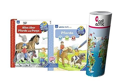 Ravensburger Kinder Sachbuch 4-7 Jahre | Alles über Pferde und Ponys + aktiv-Heft - Malen | Rätseln | Basteln mit Kinder Weltkarte by Collectix