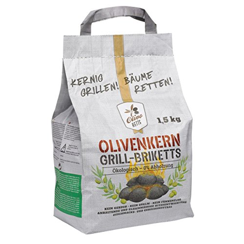 Ketts Olivo���Olive Cores & # X2713�1.5kg���Smoke & # X2713, not Wood Briquettes & # X2713�No Sparks & # X2713�Burn Time 100% Recycled Charcoal Briquettes for Everyone Who Loves | Eco-Friendly & Smokeless Charcoal BBQ Barbecue