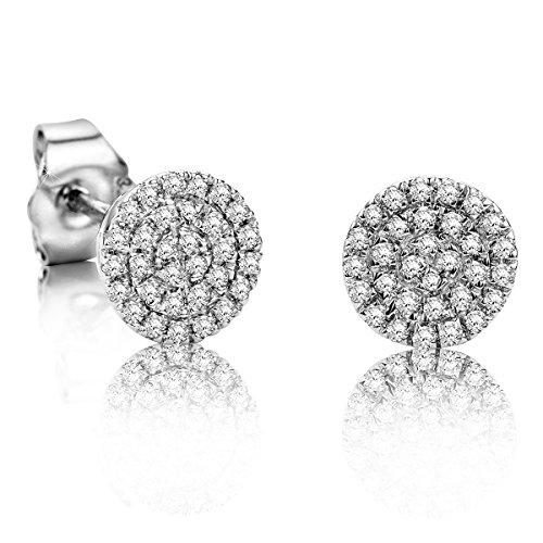 Orovi Ohrstecker Diamant Ohrringe Set,Damen Weißgold Ohrstecker 9Karat (375)Brillanten 0.177crt