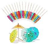 Paraguas de Cóctel de Papel, Paquete de 144 Paraguas de Cóctel Playa Fiesta, Mini Parasoles de Papel para Cócteles en Colores Surtidos, Ideal para Fiestas, Bebidas, Tazas, Tartas, Frutas Tropicales