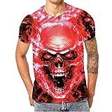 Kanpola Oversize Herren Shirt Slim Fit Schwarz Adler Totenkopf 3D Bedruckte Kurzarmshirt T-Shirt Tee (Rot, L/50)