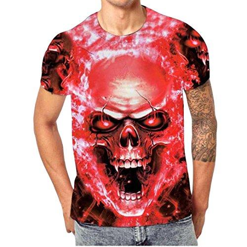 Kanpola Oversize Herren Shirt Slim Fit Schwarz Adler Totenkopf 3D Bedruckte Kurzarmshirt T-Shirt Tee (Rot, 3XL/56)