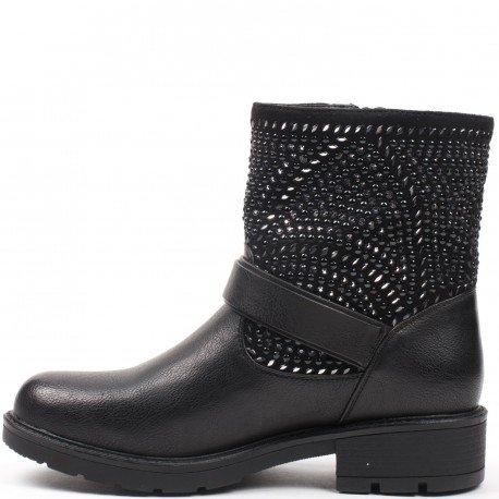 Ideal Shoes - Bottines montantes ornées de strass et de clous Pamina Noir