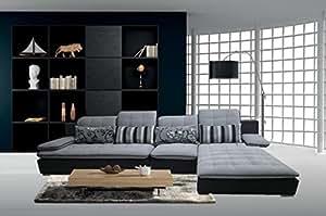Divano salotto angolare in tessuto nero e grigio
