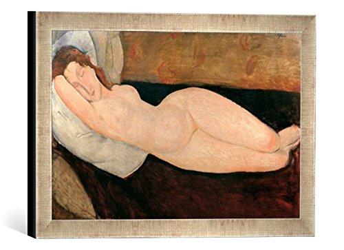 Gerahmtes Bild von Amedeo Modigliani A.Modigliani, Liegender Akt, Kunstdruck im hochwertigen handgefertigten Bilder-Rahmen, 40x30 cm, Silber Raya - Amedeo Modigliani Gerahmte Leinwand