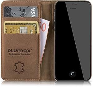 """'Blumax Étui en cuir Apple iPhone 5/5S/SE 4""""Premium en cuir véritable style vintage sans aimant"""