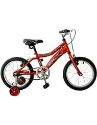 Bicicleta infantil para niño de entre 4 y 6 años Gotty PIRATA, con ruedines, color rojo