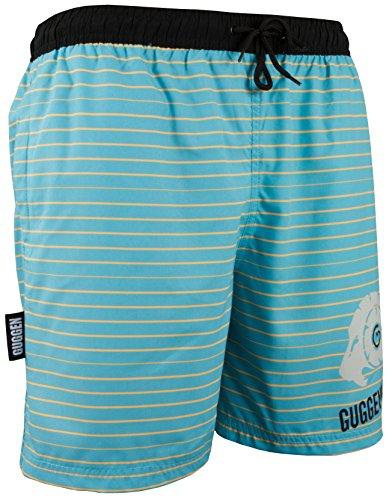 GUGGEN MOUNTAIN Herren Badeshorts Beachshorts Boardshorts Badehose mit Muster *High Quality Print* Blau-Gelb