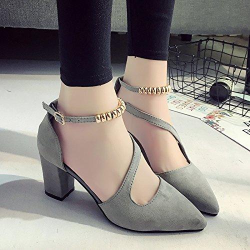 RUGAI-UE Estate High-Heeled appuntita scarpe Borsa fibbia sandali di cavo Grey