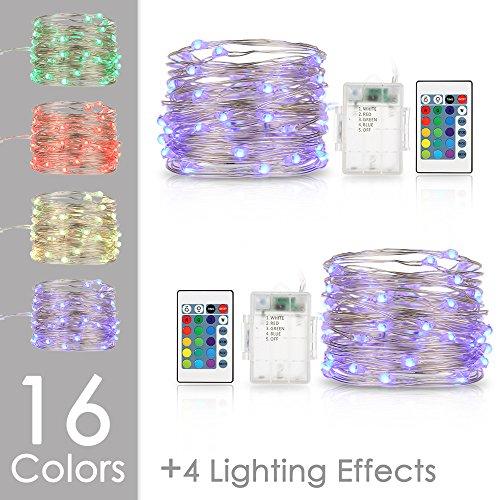 LED Lichterkette Bunt Batterie, Tomshine 50 LEDs Batteriebetrieben Lichterkette 2x5 Meter Kupferdraht Wasserdicht Stimmungsvolle Beleuchtung mit Fernbedienung und Timer für Party, Weihnachten