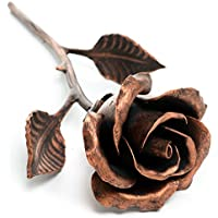 Hand Forged Copper Anniversary Gift - Steel Rose Sculpture (Copper Stained)