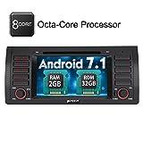PUMPKIN Android 7.1 Octa Core 1 Din Autoradio mit Bildschirm 32GB + 2GB für BMW 5er X5 E39 E53 M5 mit Navi unterstützt Bluetooth DAB+ USB MicroSD WLAN Subwoofer Rückfahrkamera 7 Zoll