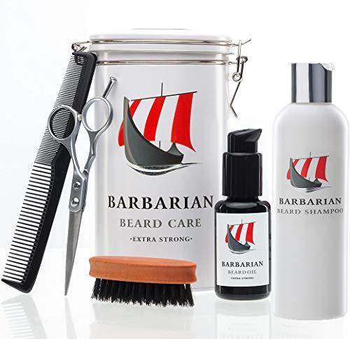 Hochwertiges Mr Burton´s Barbarian Bartpflege Set - inkl. Bartöl, Bartshampoo, Bartbürste, Schere, Kamm und Aufbewahrungsdose