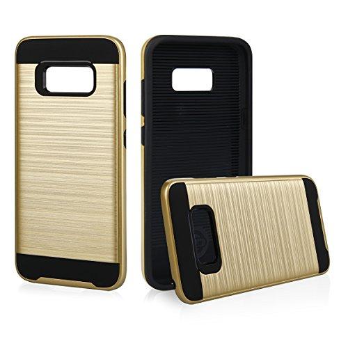 EGO® Hard Case Schutz Hülle für Samsung Galaxy S8 Plus, Grau Metallic Effect Brushed Handy Cover Schale Bumper Etui Top-Qualität Gold