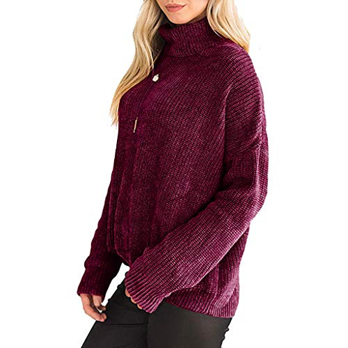 Oksea Damen Rollkragen Strickpullover Rollkragenpullover Damen Pullover Winter Casual Long Sleeve Strickjacke Loose Strick Pullover Sweater Top Outwear -