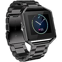For Fitbit Blaze Watch Band, Ouneed ® Pulsera de acero inoxidable de venda de reloj de la correa para el reloj inteligente Fitbit Blaze (Negro)
