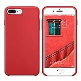 SURPHY Coque iPhone 8 Plus Coque iPhone 7 Plus, Coque Silicone Liquide Anti-Choc Ultra Fine Premium, Housse Protection Anti Rayures Étui pour iPhone 7 Plus et iPhone 8 Plus,Rouge