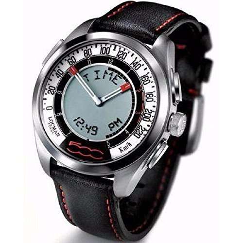Locman Fiat 500 Clock 032000 whfbk Quartz (Rechargeable) quandrante Steel Red Leather Strap