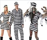 Gyan Halloween Kostüm Gestreift Gefangene Königin Vampir Cosplay Uniform Paar Tragen Kleider,M