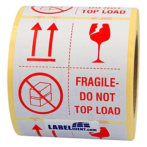 Aufkleber - fragile - do not top load - 100 x 100 mm - 500 Stück auf Rolle, weiß, permanent haftend - Versandetikett, Warnetikett, Paketaufkleber