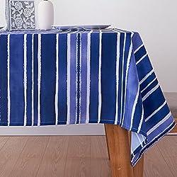 chenyu - Mantel Rectangular de poliéster con Impresión a Rayas, Resistente al Aceite, antiincrustante, Resistente al Agua y a la Suciedad, Resistente al Calor, para Mesa de Comedor, Azul, 140 * 200cm