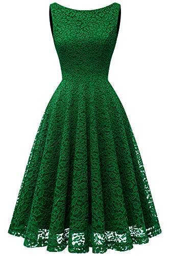 bbonlinedress Damen Retro Charmant Ärmellos Rundhals Knielang mit Spitzen Floral Rockabilly Cocktail Abendkleider Green XL