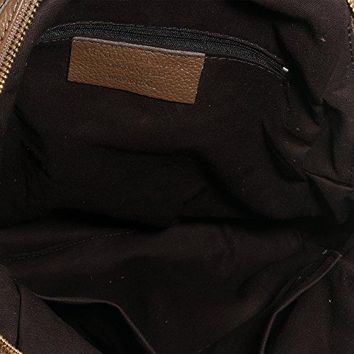 Imagen de firenze artegiani. de mujer casual piel auténtica. de piel acabado dollaro. bolso  casual mujer cuero genuino. made in italy.vera pelle italiana.31x31x10 cm. color marron oscuro alternativa