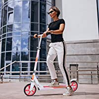 Adult Scooter, Kick Scooter Street Push Scooter Lightweight Easy Folding with Adjustable Handlebar, 200mm Wheels, Rear Brake, Carry Strap for Adults Teens Ages 12+, Support 220lbs