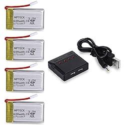 MPTECK @ 4X batería lipo de repuesto 3,7V 600mAh con 4 en 1 cargador para RC cuadricóptero Syma X5 x5C x5C-1 X5SC X5SW Drone