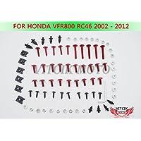 VITCIK Kit Completo de Tornillos y Pernos de Carenado para Honda VFR 800 RC46 2002 - 2012 VFR 800 RC 46 02 - 12 Clips de Sujeción en Aluminio CNC de La Motocicleta (Rojo & Plata)