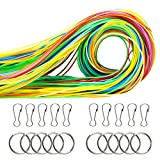 Keriber 525-Feet Scoubidou Strings Plastic Lacing String Craft Gimp String Multi-color DIY Craft Cord Jewelry Making Pack with Snap Clip Hooks Keychain Ring Clips, 16 Colors (16 Colors)
