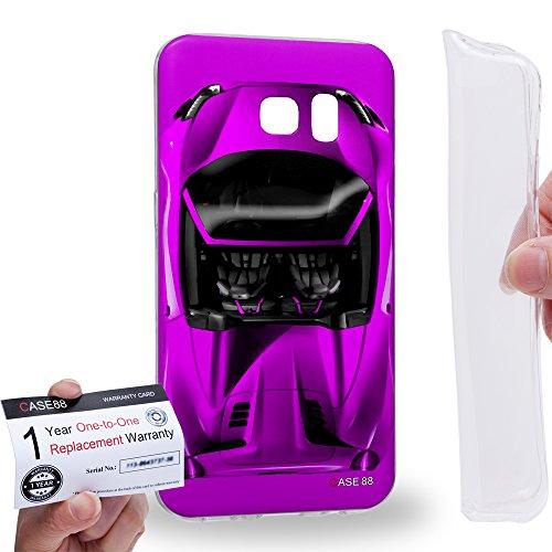 Case88 [Samsung Galaxy S7 Edge] Gel TPU Hülle / Schutzhülle & Garantiekarte - Art Design Purple Sport Car Art1301