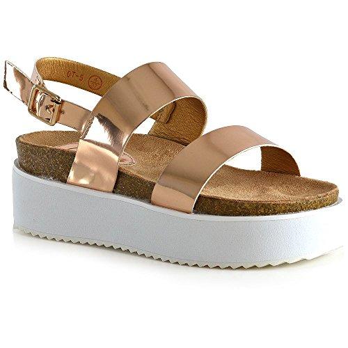 ESSEX GLAM Damen Plateau Keilabsatz Sandalen Frau Rosé Gold Metallisch Slingback Fesselriemen Schuhe EU 39