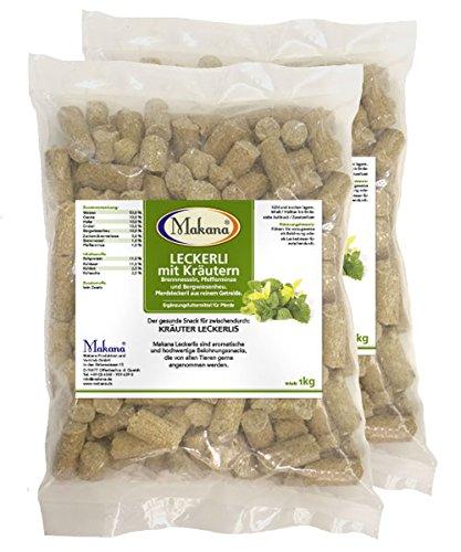 Makana Kräuter Leckerlie Snack für Pferde, 2 x 1000 g Beutel (2 x 1 kg)