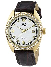 MC Timetrend Damen-Armbanduhr mit Kristallsteinen, Gehäuse goldfarben, schwarzes Lederband, Analog Quarz 50919