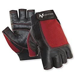Valeo Industrial VI5159XE Material Handling Fingerless Leather Glove Pair, Red, 2XL
