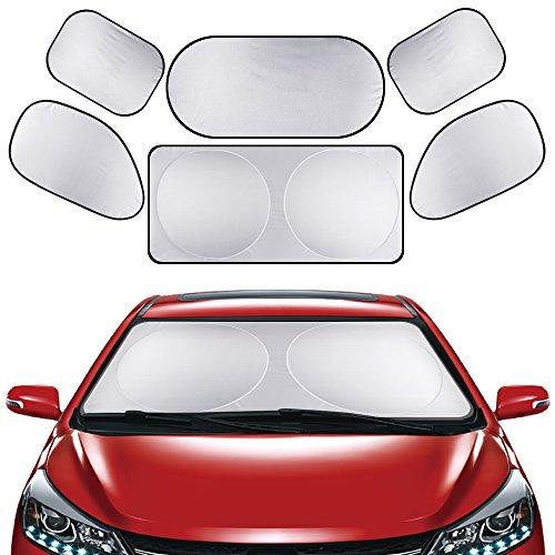 Sonnenschutz Auto 6 *Stück faltbare Sonnenblende vor Hize und UV Strahlen für alle Fenster, Baby Autosonnenschutz von Horsky